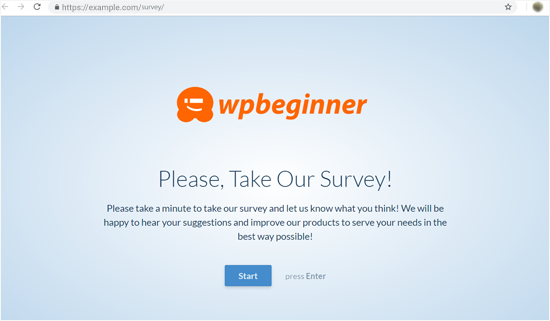 Conversational Form Landing Page Preview