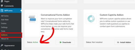 WPForms Conversational Forms addon active