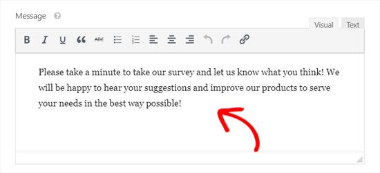 Conversational Form Landing Page Message