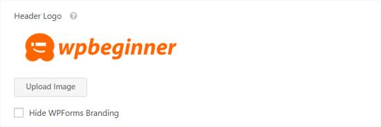 Upload Header Image in Conversational Form Landing Page
