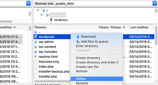 Delete old wordpress subdirectory
