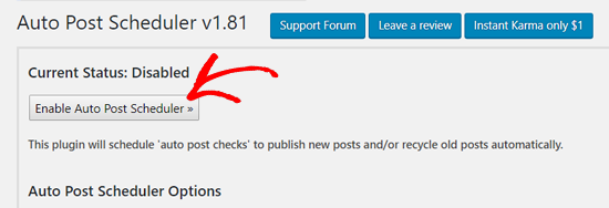 Enable Auto Post Scheduler in WordPress