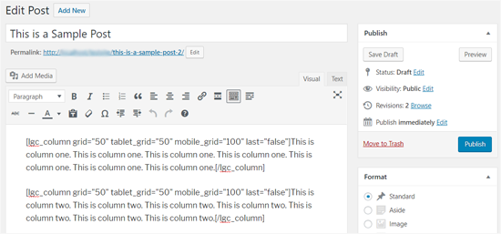 Shortcode and Content for 2 Columns in WordPress