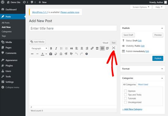 Distraction-free Writing Mode in Classic WordPress Editor
