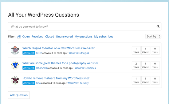 Preview of questions page