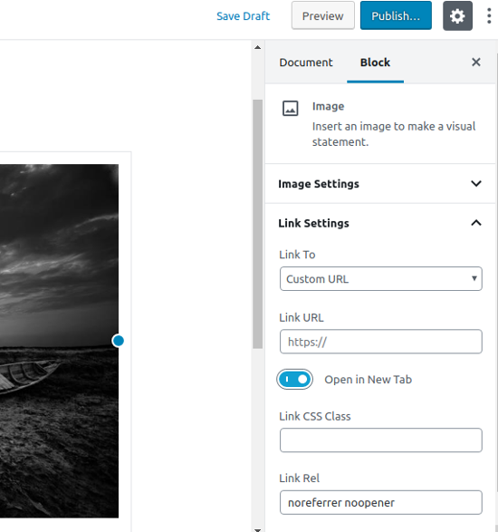 Adding custom link to a single image in WordPress