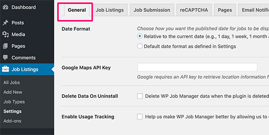 General settings for WP Job Manager
