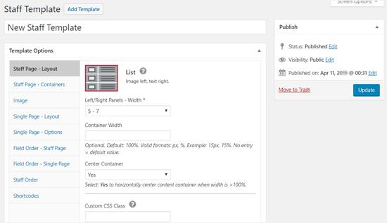 Template Options - Staff List WordPress Plugin