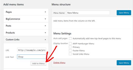 Add a Custom Link to WordPress Menu