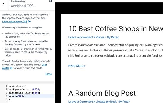 Aggiunta di CSS personalizzati nella personalizzazione del tema
