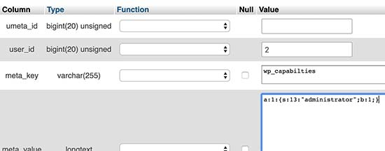 Adding administrator user role via usermeta