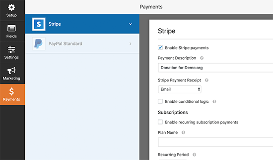 Enable payment option
