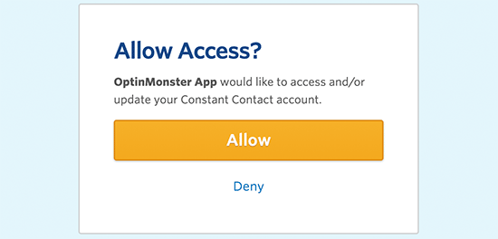 Allow OptinMonster to access your Constant Contact account