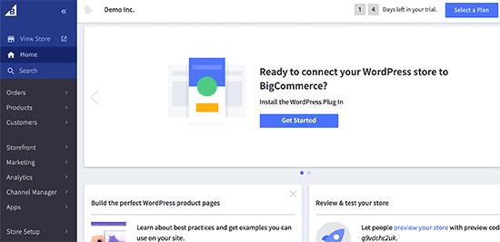 BigCommerce dashboard