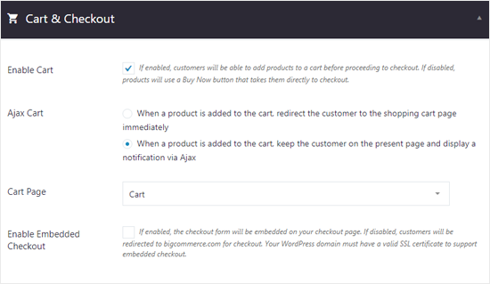 BIgCommerce for WordPress Cart and Checkout Options