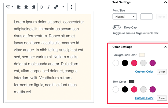 Change background and text color in content editor