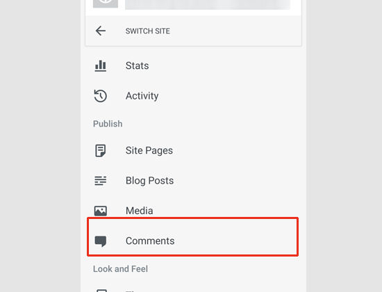 Managing comments via WordPress app
