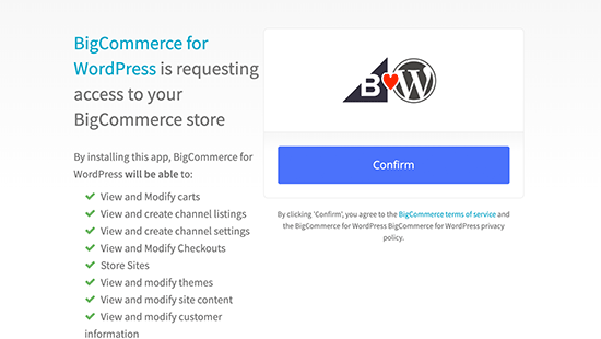 Confirm BigCommerce connect