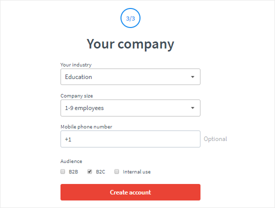 Create a LiveChat account step three