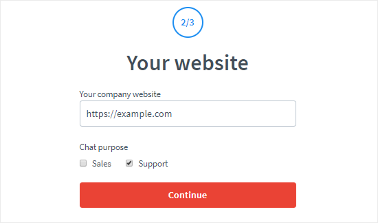 Create a LiveChat account step two