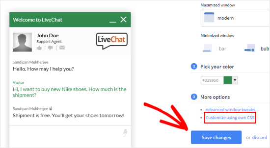 Customize LiveChat using custom CSS
