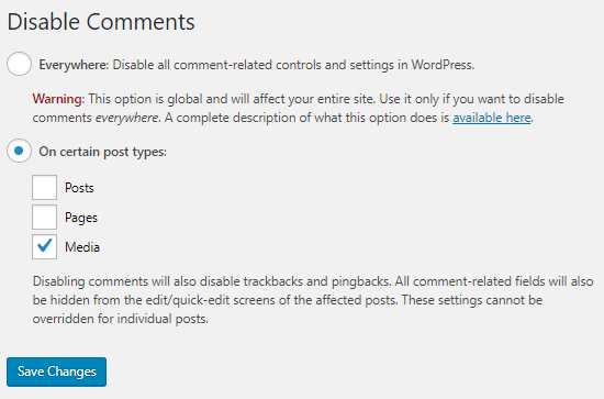 Disable Comments Plugin Settings