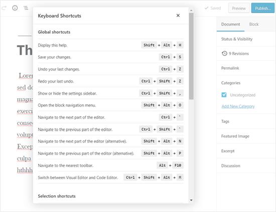 Display WordPress Keyboard Shortcuts Option
