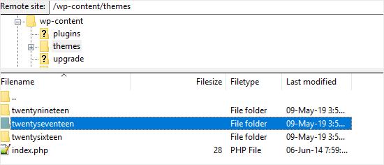 FTP WordPress themes folder