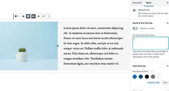 Media and text block in WordPress content editor