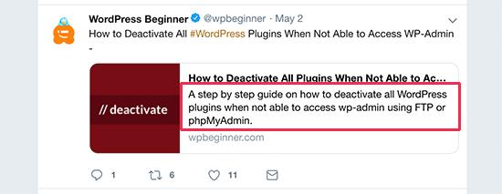 Meta description shown on Twitter