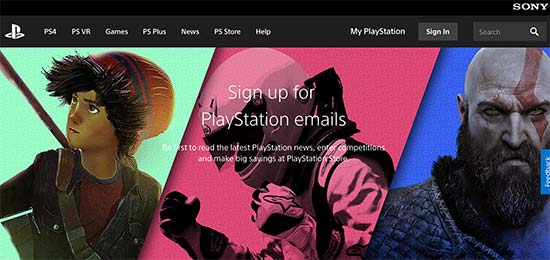 Sony PlayStation Newsletter signup