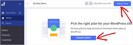 Select a BigCommerce Plan