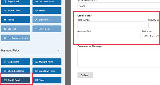 Adding Stripe credit card field to your form