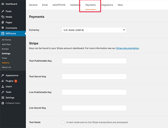 Stripe payment settings