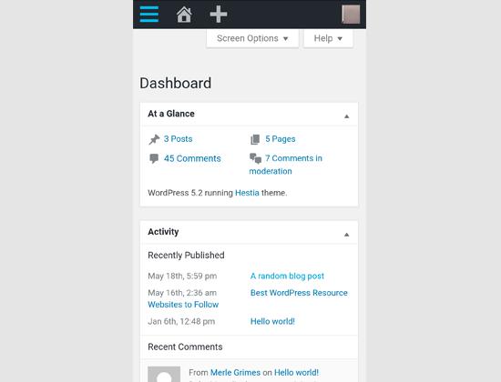 WordPress admin area on mobile browser