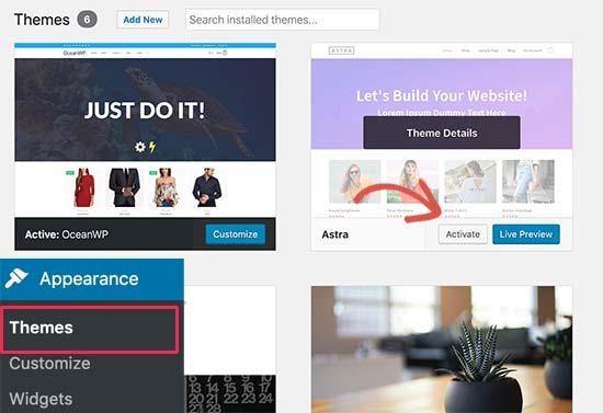 Deactivate a WordPress theme