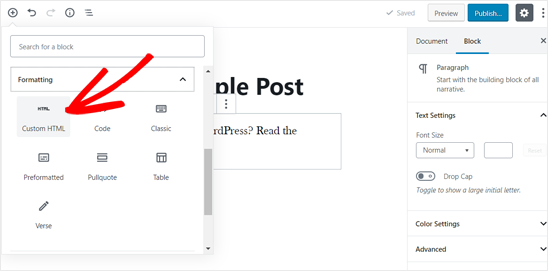 Add Custom HTML Block in WordPress Post