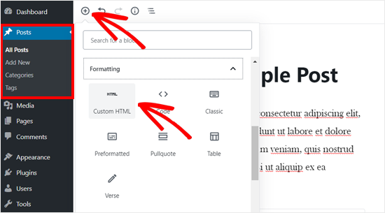 Add Custom HTML Block in WordPress Editor