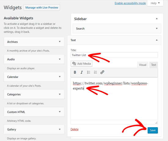 Add Twitter List in WordPress Text Widget