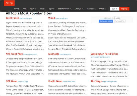 AllTop News Aggregator Website