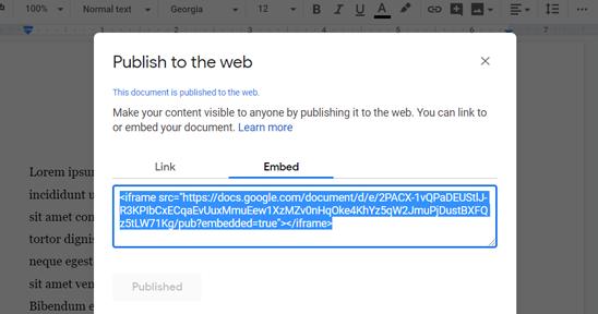 Embed a Google Doc Code