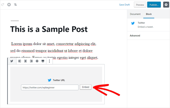 Embed Twitter Timeline in WordPress Post