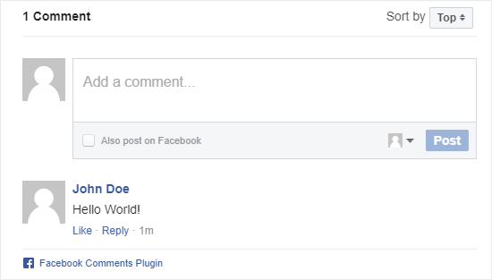 Facebook comment system in action