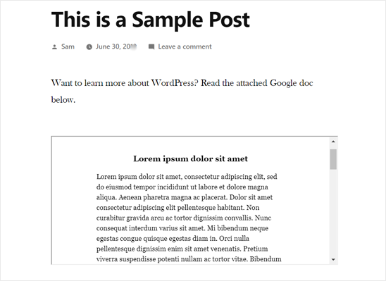 Google Doc Embedded in WordPress Post -preview