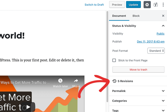 Post revisions in WordPress