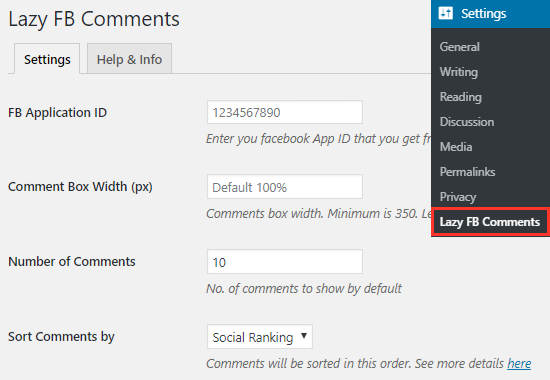 Lazy FB Comments Plugin settings page