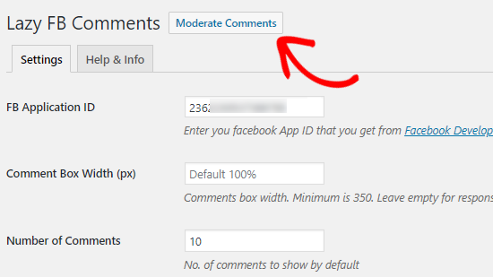 Moderate Facebook Comments option