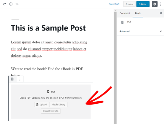 PDF Block Added in WordPress Editor