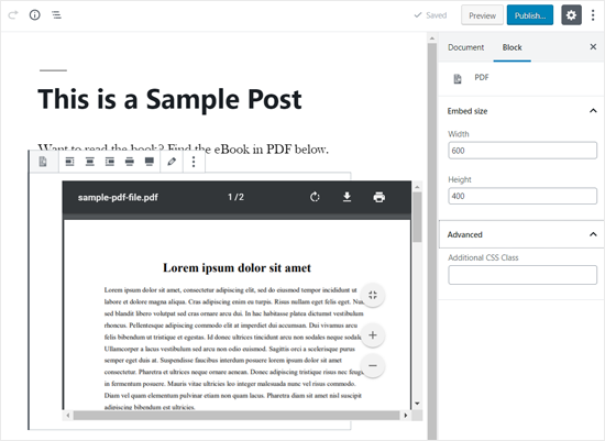 PDF Embedded in WordPress Post Editor