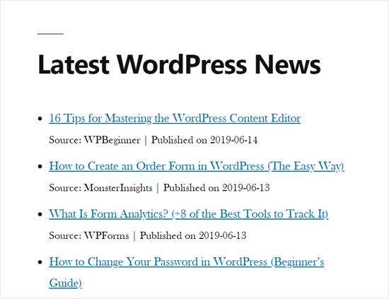 RSS News Feed in WordPress Site Demo